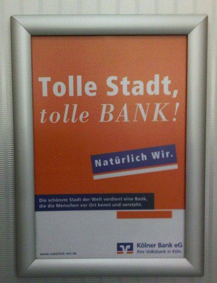 Aushang in der Kölner Bank e.G.